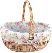 Shopping Wicker Basket with Rose Lining Brambly