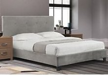 Shoreditch Grey Velvet Fabric Bed Frame - 4ft6