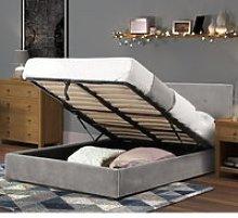 Shoreditch Grey Velvet Ottoman Storage Bed Frame -