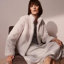 Short-Faux Fur Coat, Pale Grey, Extra Small