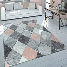 Short-Pile Rug Living Room Pale Pink Grey Pastel
