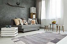 Short Pile Rug Patchwork Soft Silver Grey White
