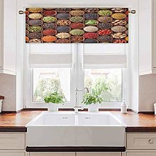 Short Straight Window Valance, Colorful Herbs and