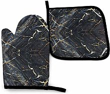 shotngwu Dark Gray Marble Texture Oven Mitts And