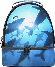 Shoulder Double Lunch Bag Diver and Whale