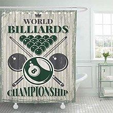 Shower Curtain Accessory Retro Sport for Billiard