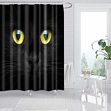 Shower Curtain Black Cat With Yellow Eyes