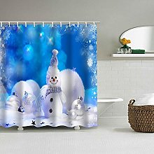 Shower Curtain Blue Snowman With Snowflakes Water