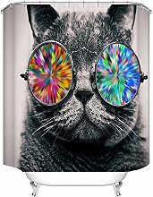 Shower Curtain Cat With Glasses Bath Curtains