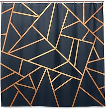 Shower Curtain Copper And Midnight Navy Polyester