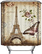 Shower Curtain Eiffel Tower Waterproof + 12 Hooks
