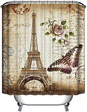Shower Curtain Eiffel Tower Waterproof Hooks +12