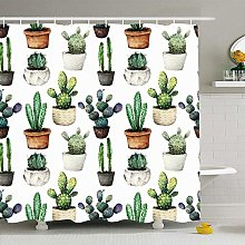 Shower Curtain For Bathroom 72x72 Green Cactus