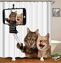 Shower Curtain for Bathroom with 12 Hooks Funny
