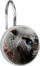 Shower Curtain Hooks - Cat with Blue Eyes - Set of