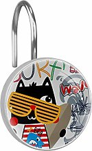 Shower Curtain Hooks - Cat with Glasses - Set of
