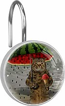 Shower Curtain Hooks - Cat with Watermelon