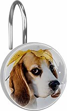 Shower Curtain Hooks - Dog with Autumn Leaf - Set