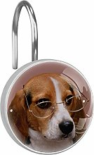 Shower Curtain Hooks - Dog with eyes - Set of 12