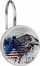Shower Curtain Hooks - Eagle with American Flag -