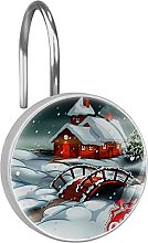 Shower Curtain Hooks Rings,Cottage house Merry