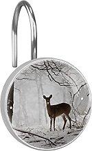 Shower Curtain Hooks Rings,Winter forest deer