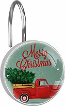 Shower Curtain Hooks - Truck With Christmas Tree -