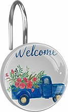 Shower Curtain Hooks - Truck With Flowers - Set of