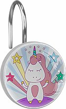 Shower Curtain Hooks - unicorn with stars(7) - Set