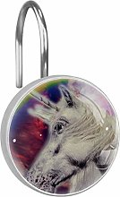 Shower Curtain Hooks - Unicorn with the Galaxy -