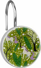Shower Curtain Hooks - Unicorn with Trees - Set of
