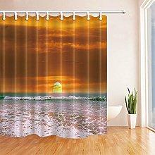 Shower Curtain Liner Footballs Pattern Bathroom