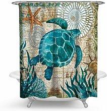 Shower Curtain Marine Turtle Green Waterproof