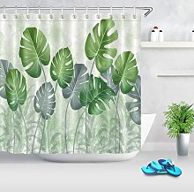 Shower Curtain Pearl Rare Green Leaf, with 12