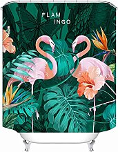 Shower Curtain Pink Flamingo With Green Leaves