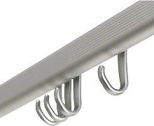 Shower Curtain Rail Set Easy-Roll Matte Aluminium