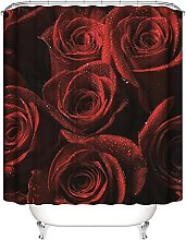 Shower Curtain Red Rose With Drops Of Water Bath