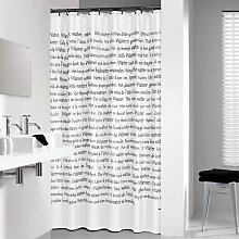 Shower Curtain Sayings 180x200 cm White and Black