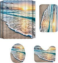 Shower Curtain Set Beach Pattern Mats 4PCS