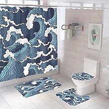 Shower Curtain Sets Blue Waves 4Pcs Shower Curtain