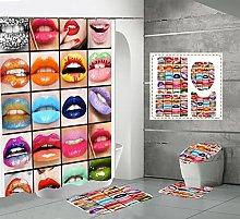 Shower Curtain Sets Colored Lips 4Pcs Shower