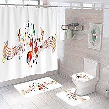 Shower Curtain Sets Colored Notes 4Pcs Shower