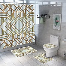 Shower Curtain Sets Geometric Hollow 4Pcs Shower