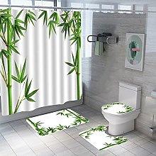 Shower Curtain Sets Green Bamboo 4Pcs Shower