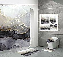 Shower Curtain Sets Grey Marble 4Pcs Shower