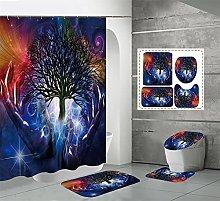 Shower Curtain Sets Magic Tree 4Pcs Shower Curtain