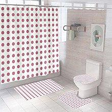 Shower Curtain Sets Pink Dots 4Pcs Shower Curtain