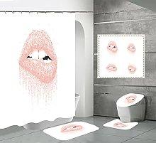 Shower Curtain Sets Pink Lips 4Pcs Shower Curtain