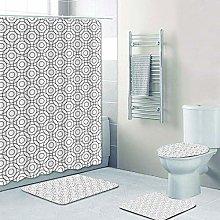 Shower Curtain Sets Simple Circle 4Pcs Shower