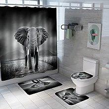 Shower Curtain Sets Steppe Elephant 4Pcs Shower